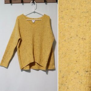 Old Navy yellow fleck confetti vneck sweater large
